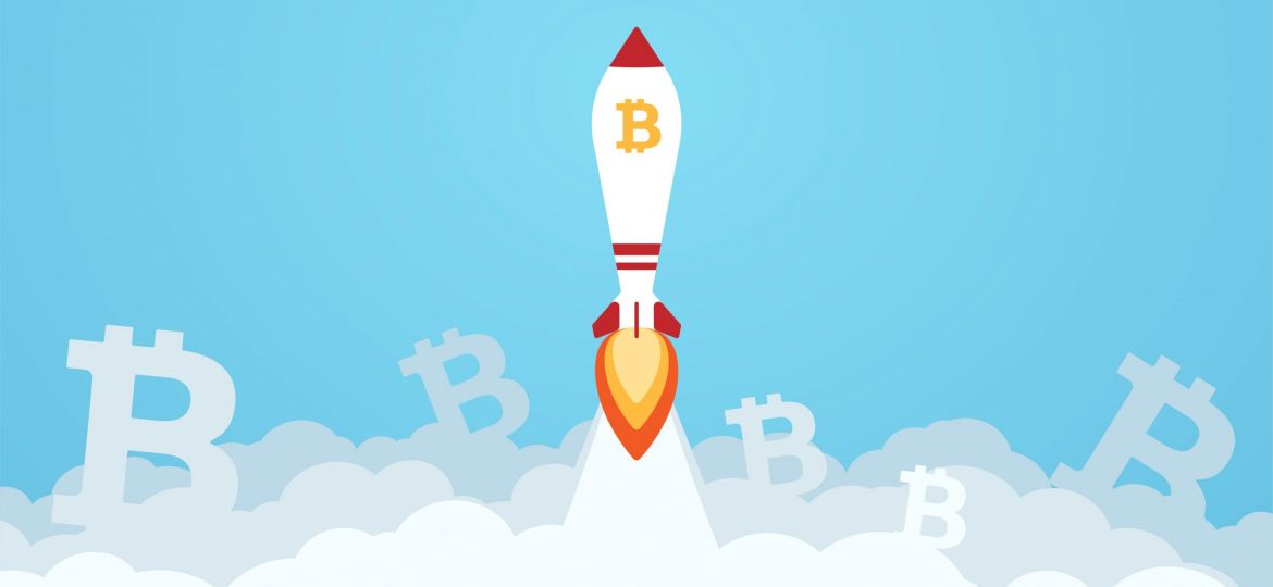 Bitcoin digital currency sign with rocket vector illustration